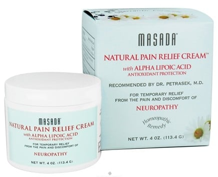 DROPPED: Masada - Natural Pain Relief Cream with Alpha Lipoic Acid Antioxidant Protection - 4 oz.