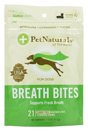 Pet Naturals of Vermont - Breath Bites For Dogs Chicken Liver Flavored - 21 Chews