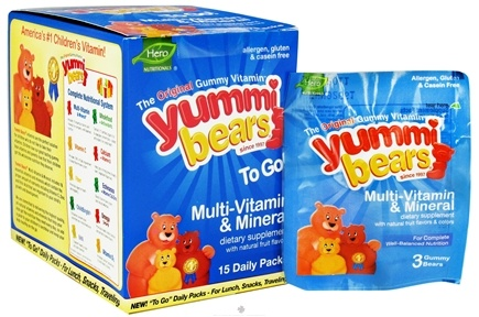 DROPPED: Hero Nutritional Products - Yummi Bears To Go Children's Multi-Vitamin & Mineral - 15 Packet(s) CLEARANCE PRICED