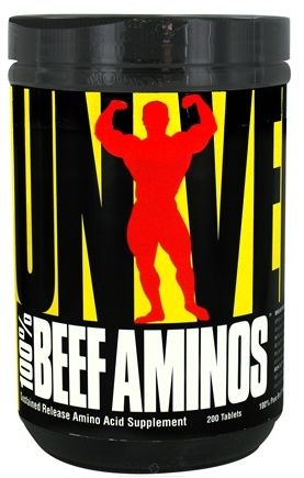 DROPPED: Universal Nutrition - 100% Beef Aminos Sustained Release - 200 Tablets CLEARANCE PRICED