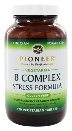 Pioneer - B Complex Stress Formula with Coenzymes, Herbs & Green Foods - 120 Vegetarian Tablets