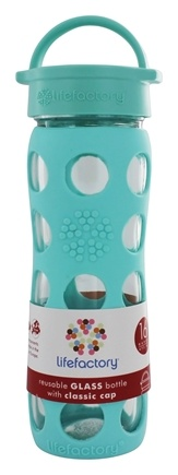 DROPPED: Lifefactory - Glass Beverage Bottle With Silicone Sleeve Turquoise - 16 oz.