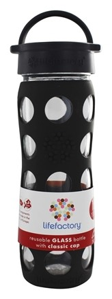 DROPPED: Lifefactory - Glass Beverage Bottle With Silicone Sleeve Graphite - 16 oz.
