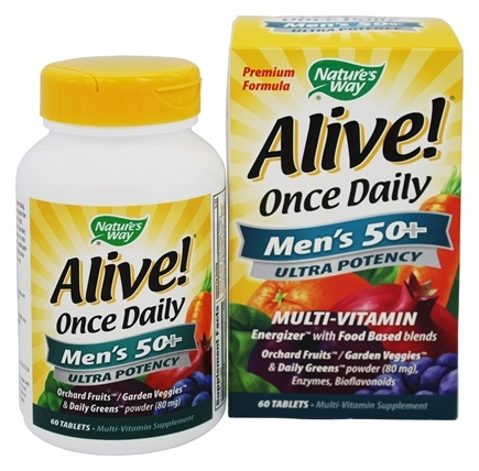 Nature's Way - Alive Once Daily Men's 50+ Multi-Vitamin & Whole Food Energizer Ultra Potency - 60 Tablets