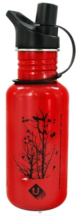 DROPPED: Conscious Containers - U Turn 2 Tap Stainless Steel Water Bottle Raven Red - 16 oz.