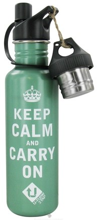 DROPPED: Conscious Containers - U Turn 2 Tap Stainless Steel Water Bottle Keep Calm Green - 27 oz. CLEARANCE PRICED