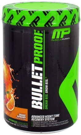 DROPPED: Muscle Pharm - Bullet Proof Advanced Night Time Recovery System Orange Raspberry - 10.97 oz. CLEARANCE PRICED