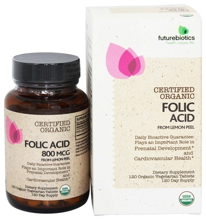 Futurebiotics - Certified Organic Folic Acid From Lemon Peel - 120 Vegetarian Tablets