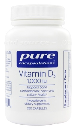 Pure Encapsulations - Vitamin D3 1000 IU - 250 Vegetarian Capsules