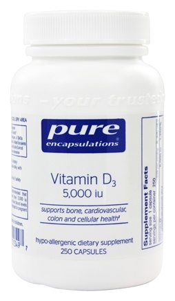 Pure Encapsulations - Vitamin D3 5000 IU - 250 Vegetarian Capsules
