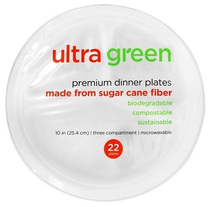 DROPPED: Ultra Green - Premium Three Compartment Dinner Plates 10 Inches - 22 Count