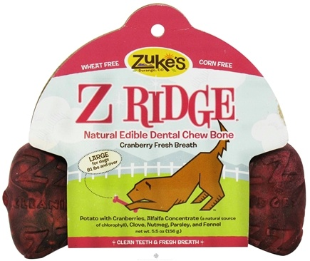 DROPPED: Zuke's - Z-Ridge Dental Chew Bone Large Cranberry Fresh Breath - 5.5 oz.