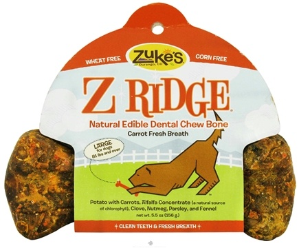 DROPPED: Zuke's - Z-Ridge Dental Chew Bone Large Carrot Fresh Breath - 5.5 oz.