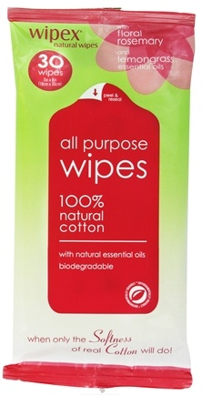 DROPPED: Wipex Natural Wipes - 100% Natural Cotton All Purpose Wipes Floral Rosemary & Lemongrass 7 in. x 8 in. - 30 Wipe(s) CLEARANCE PRICED