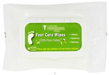 DROPPED: A World of Wipes - Professional Hygiene 100% Pure Cotton Foot Care Wipes - 25 Wipe(s) CLEARANCE PRICED