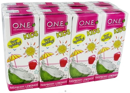 DROPPED: O.N.E. - Kids Coconut Water 8 pack Raspberry Lemonade - 6.75 oz. CLEARANCE PRICED