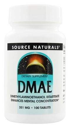 Source Naturals - DMAE Dimethylaminoethanol Bitartrate 351 mg. - 100 Tablet(s)