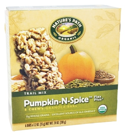 Nature's Path Organic - Chewy Granola Bars Flax Plus Trail Mix Pumpkin-N-Spice - 6 Bars