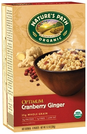 DROPPED: Nature's Path Organic - Instant Hot Oatmeal 8 x 40g Packets Optimum Cranberry Ginger - 11.2 oz.