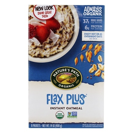 Nature's Path Organic - Instant Hot Oatmeal Flax Plus 8 x 50g Packets - 14 oz.