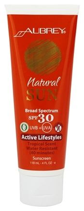 DROPPED: Aubrey Organics - Natural Sun Sunscreen High Protection Active Lifestyles Tropical Scent 30 SPF - 4 oz.