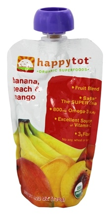 DROPPED: HappyFamily - HappyTot Organic Superfoods Stage 4 Banana, Peach & Mango - 4.22 oz.
