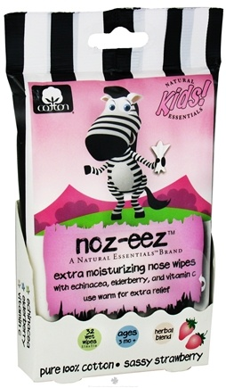 DROPPED: Natural Essentials - Kids Noz-Eez Extra Moisturizing Nose Wipes Sassy Strawberry - 32 Wipe(s) CLEARANCE PRICED