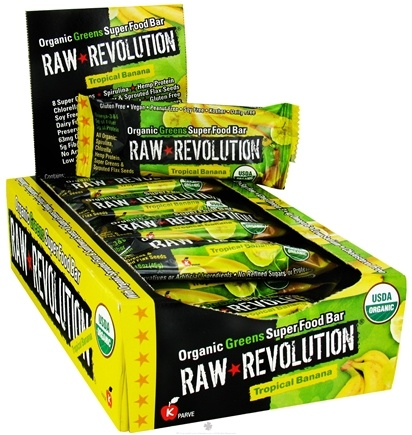 DROPPED: Raw Revolution - Organic Greens Super Food Bar Tropical Banana - 1.6 oz. CLEARANCE PRICED