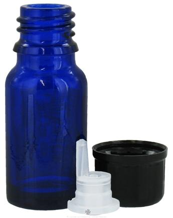 DROPPED: Sanctum Aromatherapy - Cobalt Blue Glass Bottle with Black Dropper Cap - 10 ml. CLEARANCE PRICED
