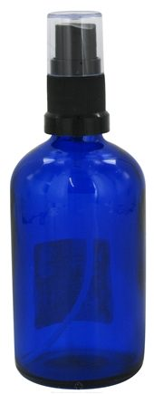 Sanctum Aromatherapy - Cobalt Blue Glass Bottle with Black Atomizer Cap - 100 ml.
