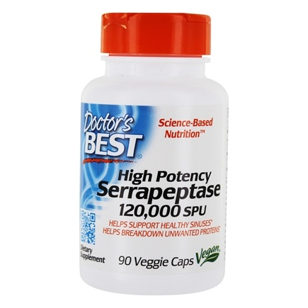 Doctor's Best - Best High Potency Serrapeptase 120,000 SPU - 90 Vegetarian Capsules