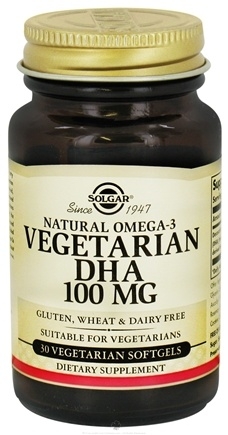 DROPPED: Solgar - Natural Omega-3 Vegetarian DHA 100 mg. - 30 Vegetarian Softgels CLEARANCE PRICED