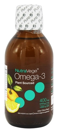 Ascenta Health - NutraVege Omega-3 Liquid Plant Sourced 400mg DHA + 550mg SDA Juicy Citrus Flavor - 6.8 oz. Formerly High Potency DHA, GLA & SDA Vegetarian Supplement Citrus