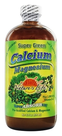 Nature's Life - Super Green Calcium Magnesium Plus 1000 IU Vitamin D3 - 16 oz.