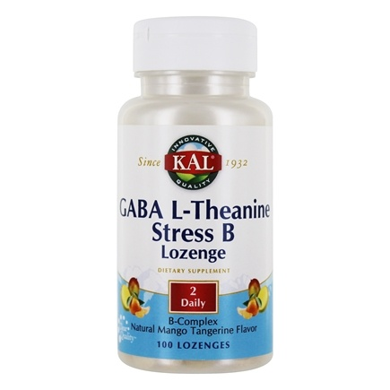 Kal - GABA L-Theanine Stress B Lozenge with B-Complex Natural Mango Tangerine Flavor - 100 Lozenges