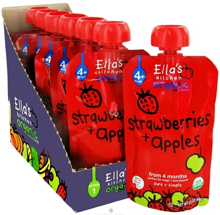 DROPPED: Ella's Kitchen - Organic Baby Food Stage 1 For 4 Months & Older Strawberries And Apples - 3.5 oz. CLEARANCE PRICED