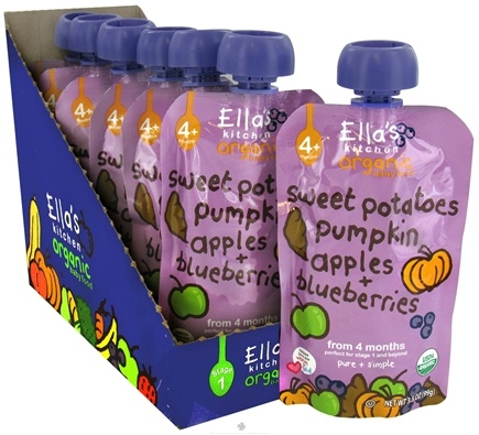 DROPPED: Ella's Kitchen - Organic Baby Food Stage 1 For 4 Months & Older Sweet Potatoes, Pumpkin, Apples And Blueberries - 3.5 oz.
