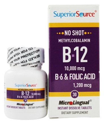 Superior Source - No Shot B12 Methylcobalamin 10000 mcg. with B6 & Folic Acid 1200 mcg. - 30 Tablets