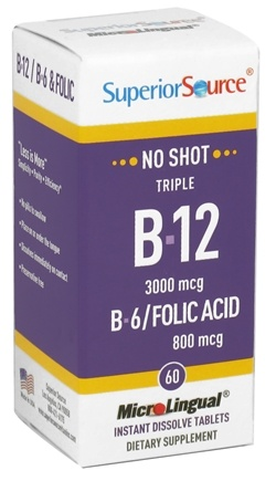 Superior Source - No Shot Triple B12 3,000 mcg, B6 & Folic Acid Instant Dissolve Micro-Tablets - 60 Tablets