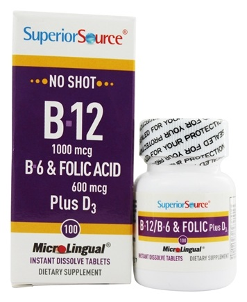 Superior Source - No Shot B12, B6, Folic Acid Plus D3 Instant Dissolve Micro-Tablets - 100 Tablets
