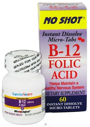 DROPPED: Superior Source - No Shot B12 Folic Acid Instant Dissolve Micro-Tabs - 60 Tablets CLEARANCE PRICED
