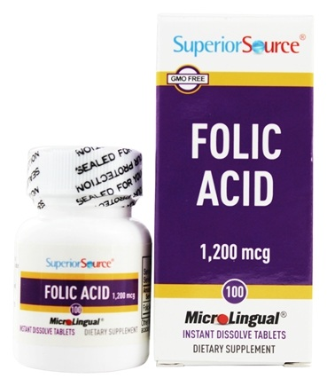 Superior Source - Folic Acid Instant Dissolve 1200 mcg. - 100 Tablets