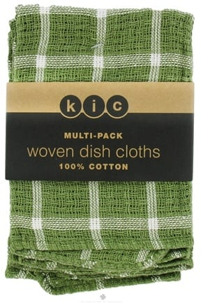 DROPPED: Kane Industries - Woven Plaid Dish Cloth Olive Green - 3 Count