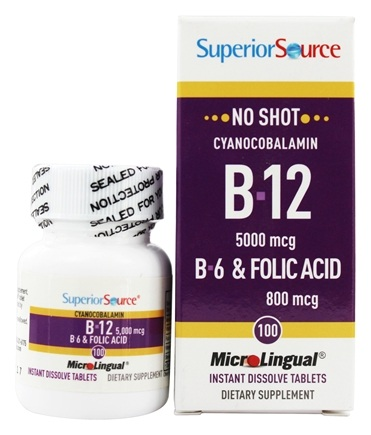 Superior Source - No Shot B12 Cyanocobalamin Instant Dissolve 5000 mcg. - 100 Tablets