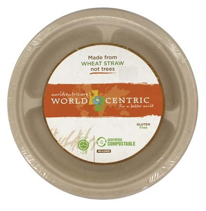 DROPPED: World Centric - Wheat Straw Plates 10-Inch 3 Compartments - 20 Count CLEARANCE PRICED