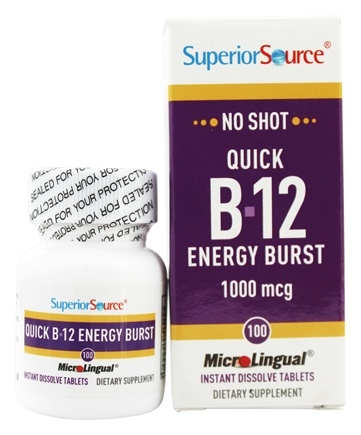 Superior Source - No Shot B12 Quick Energy Burst Instant Dissolve 1000 mcg. - 100 Tablet(s)