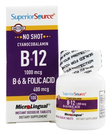Superior Source - No Shot B12 Cyanocobalamin Instant Dissolve 1000 mcg. - 100 Tablets