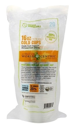 DROPPED: World Centric - Ingeo Corn Cold Cups 16 oz. - 20 Count CLEARANCE PRICED
