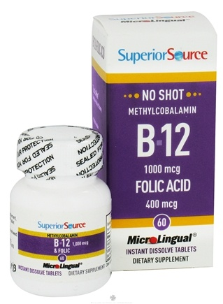 DROPPED: Superior Source - No Shot B12 Methylcobalamin 1000 mcg. with Folic Acid 400 mcg. - 60 Tablets