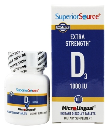 Superior Source - Vitamin D3 Extra Strength Instant Dissolve 1000 IU - 100 Tablets